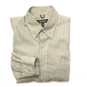 Kenneth Cole Reaction Green Checkered Dress Shirt